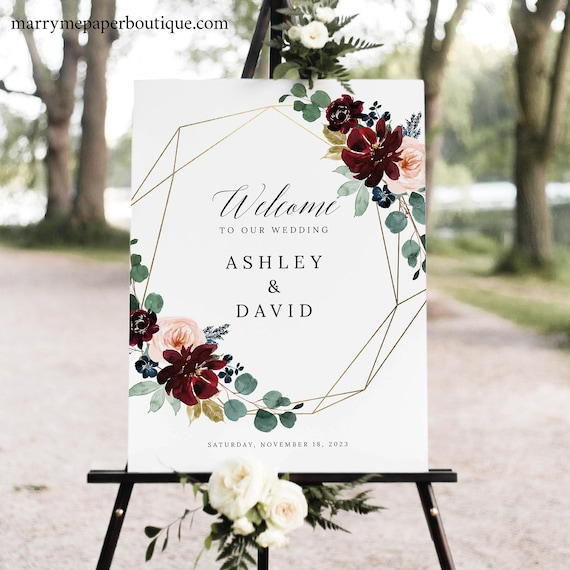 Wedding Welcome Sign Template, Burgundy Floral, Wedding Sign, Printable, Editable Sign, Templett INSTANT Download