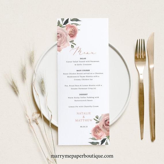 Wedding Menu Card Template, Dusky Pink Floral, Wedding Table Menu, Printable, Editable, Templett INSTANT Download