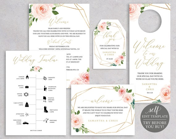 Wedding Guest Welcome Bundle, Fully Editable Templates, Blush Floral Geometric, Instant Download, TRY BEFORE You BUY