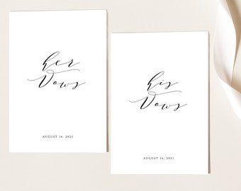 Wedding Vows Card Template, TRY BEFORE You BUY,  Editable Instant Download, Elegant Calligraphy