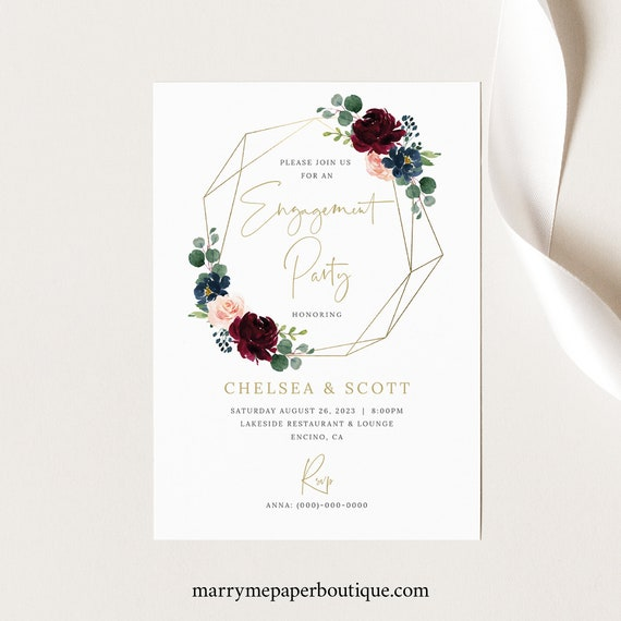 Engagement Party Invitation Template, Burgundy Geometric, Navy, Editable & Printable, Instant Download, Templett
