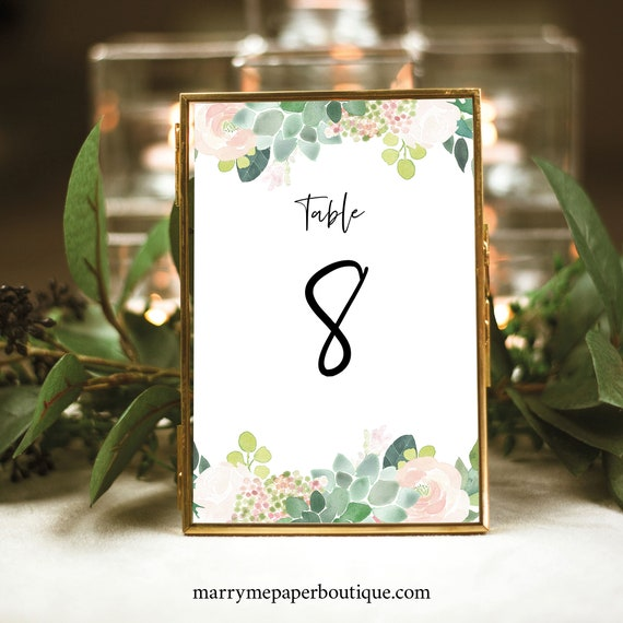 Succulent Floral Table Number Template, Table Number Sign, Printable, Greenery, INSTANT Download, Templett, Editable