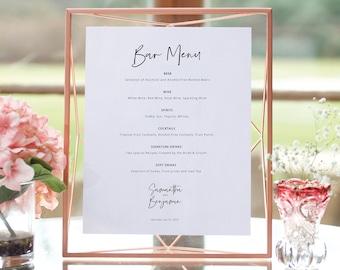 Minimalist Bar Menu Template, Modern Calligraphy, Wedding Drinks Menu, Printable, Editable, Templett INSTANT Download