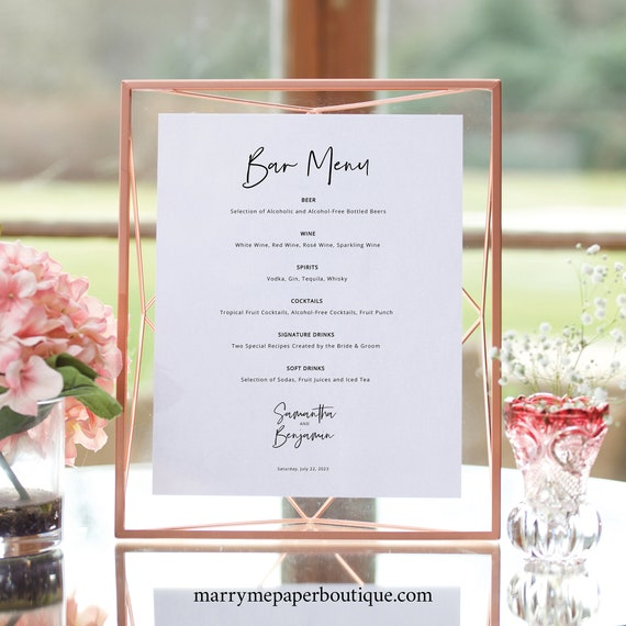 Minimalist Bar Menu Template, Modern Calligraphy, Wedding Drinks Menu, Printable, Editable, Templett INSTANT Download