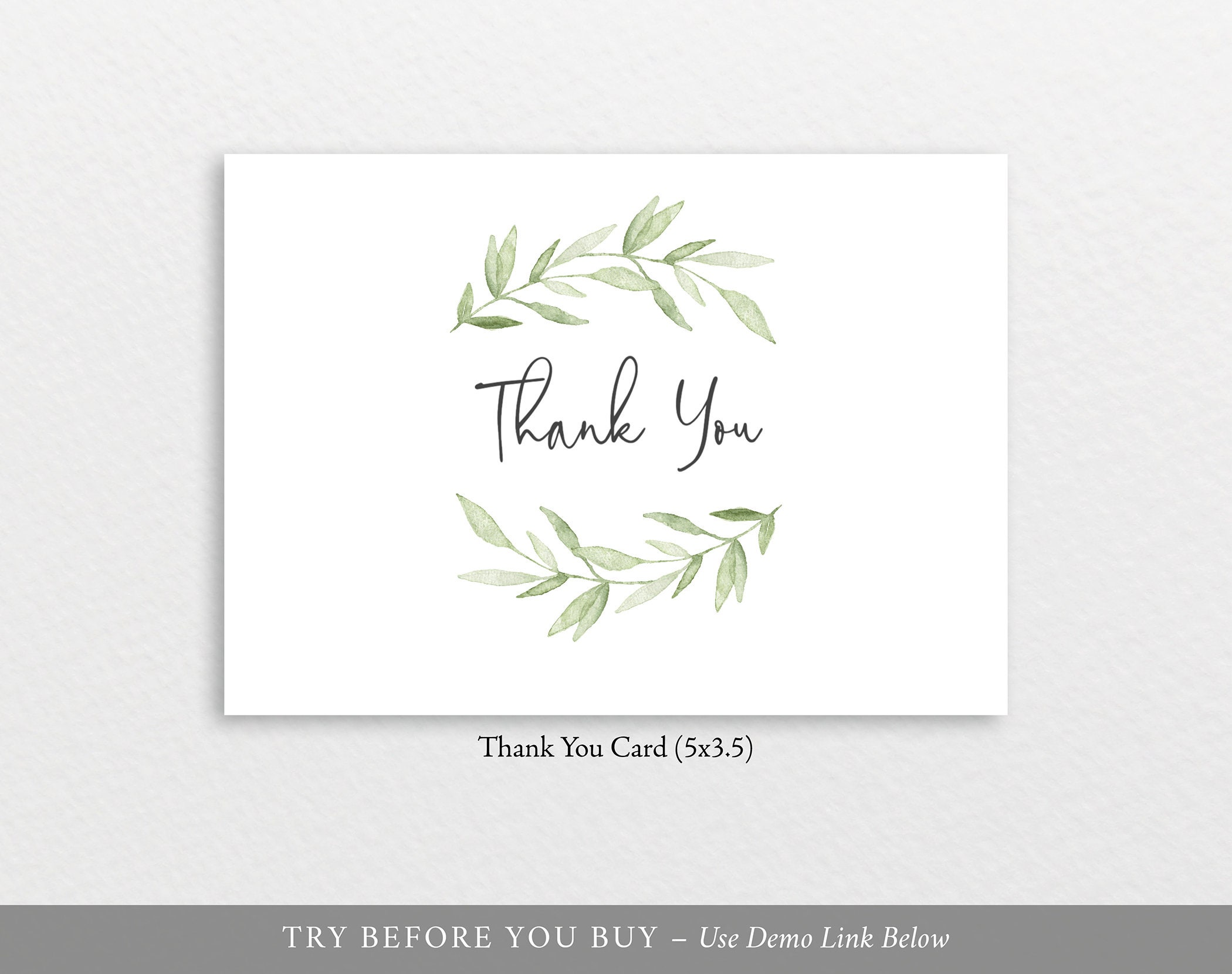 thank you card template fold greenery leaves try before