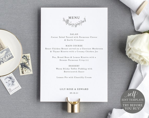 Wedding Menu Template 5x7, Botanical Floral, TRY BEFORE You BUY, Self Edit Instant Download