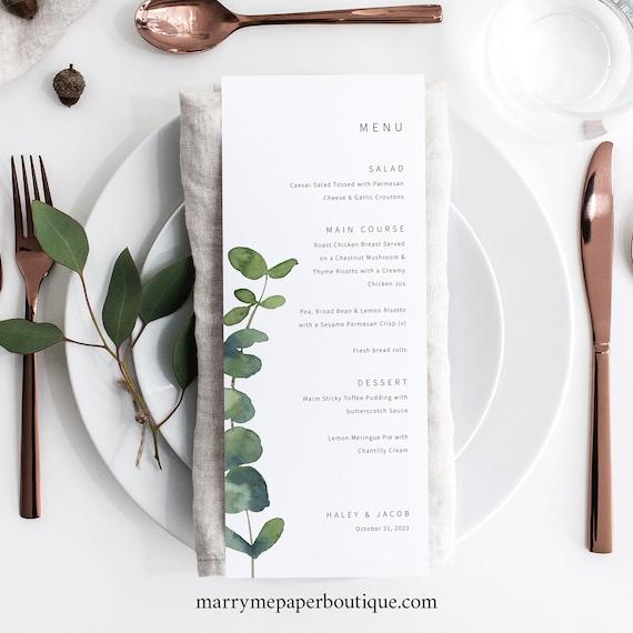 Wedding Menu Template, Elegant Eucalyptus, Greenery, Wedding Table Menu Card Printable, Editable, Templett INSTANT Download