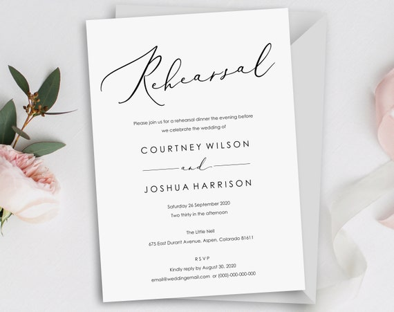 Wedding Rehearsal Invitation Template, Printable Rehearsal Invitation, Classic, Elegant, Rehearsal Dinner, PDF Instant Download, MM08-4