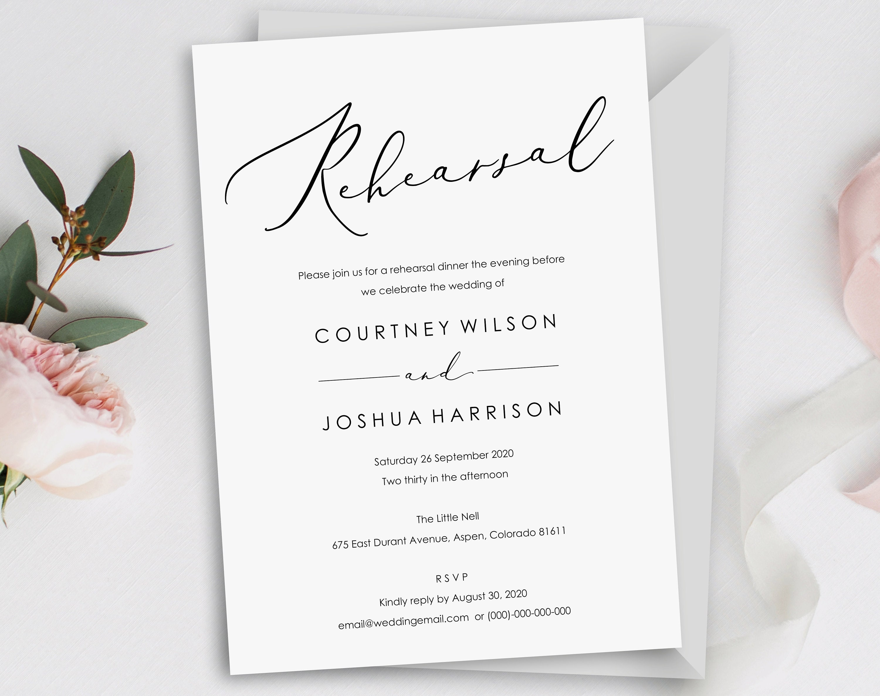 Wedding Rehearsal Invitation Template Printable