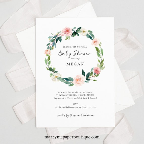 Baby Shower Invitation Template, Blush Floral Greenery Wreath, Baby Shower Invite, Printable, Templett INSTANT Download, Editable
