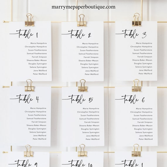 Seating Cards Template, Modern Contemporary, Clean Simple Wedding Seating Chart Cards, Printable, Editable, Templett INSTANT Download