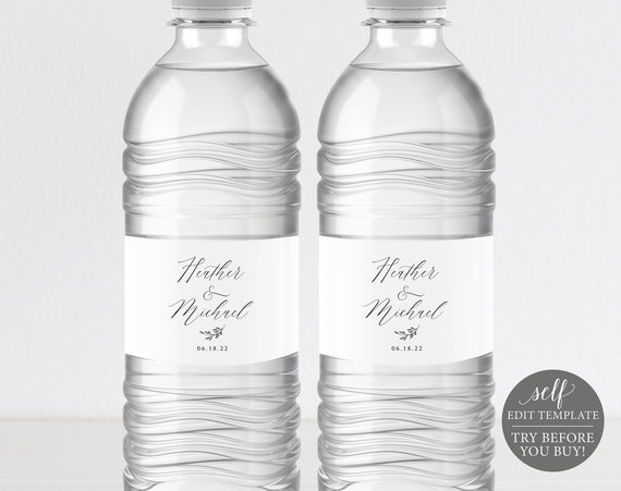 Water Bottle Label Template, Delicate Script, Free Demo Available, Editable Instant Download