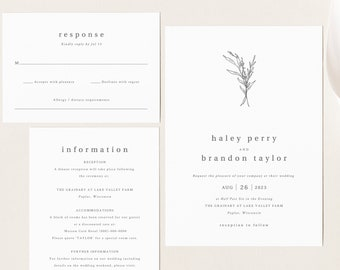 Modern Rustic Wedding Invitation Template Set, Editable Wedding Invite Printable, Templett Instant Download, Try Before You Buy
