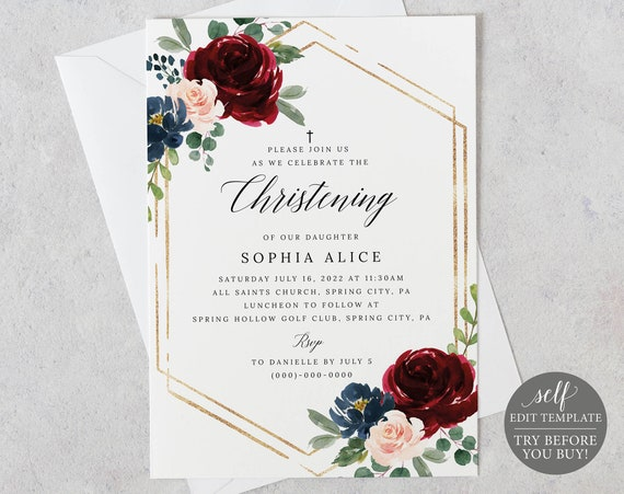 Christening Invitation Template, Burgundy Navy, Editable Printable Instant Download, Demo Available, Templett