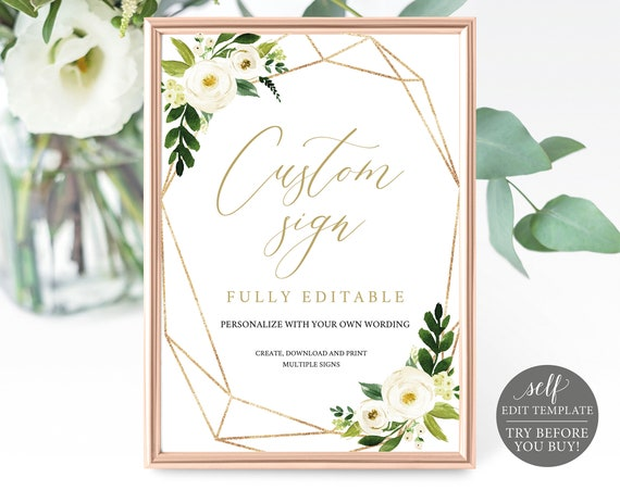 Create Multiple Signs Template, TRY BEFORE You BUY, Editable Instant Download, White Floral Geometric