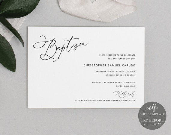 Baptism Invitation Template, Minimalist Script, Editable & Printable Instant Download