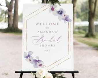 Bridal Shower Welcome Sign Template, Delicate Lilac Flowers, Bridal Shower Sign, Printable, Purple Hydrangea, Templett INSTANT Download