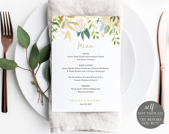 Wedding Menu Template, 5x7 White & Gold Floral, TRY BEFORE You BUY, 100% Editable Instant Download