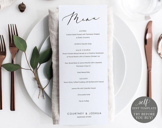 Wedding Menu Template, Demo Available, Editable & Printable Instant Download, Pretty Font