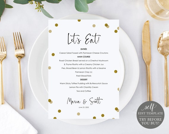 Menu Template, Demo Available, Editable & Printable Instant Download, Gold Confetti