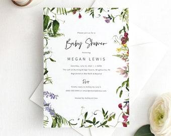 Baby Shower Invitation Template, Summer Garden Greenery, Baby Shower Invite Printable, Boy or Girl, Editable, Templett INSTANT Download