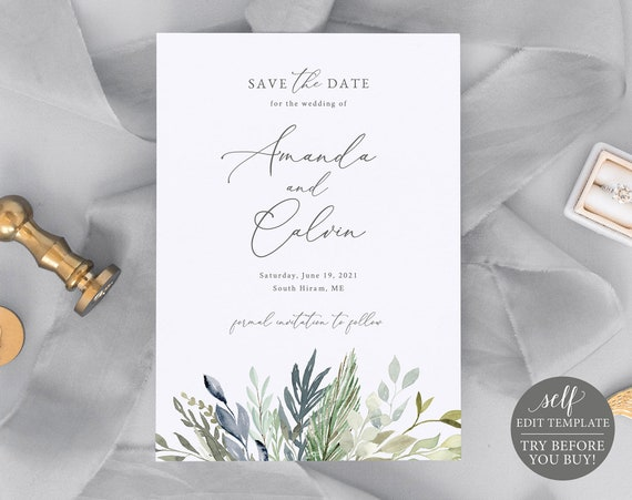 Save the Date Template, TRY BEFORE You BUY, Fully Editable Instant Download, Green & Blue Leaves
