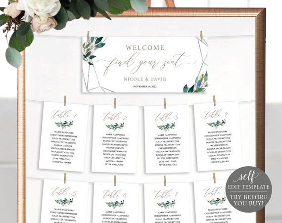 Wedding Seating Chart Cards Template, Demo Available, Editable & Printable Instant Download, Silver Greenery