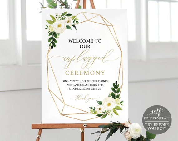 Unplugged Ceremony Sign Template, Editable Instant Download, White Floral Geometric, TRY BEFORE You BUY