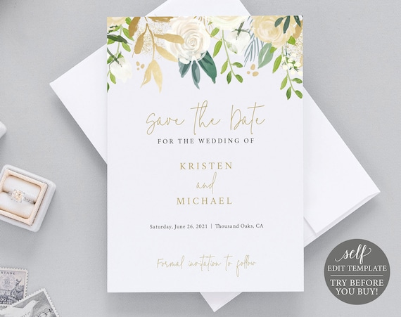 Save the Date Template, White & Gold Floral, 100% Editable Instant Download, TRY BEFORE You BUY