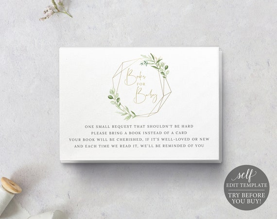 Books for Baby Card Template, Greenery & Gold, Printable Insert Card, TRY Before You Buy, Templett Instant Download