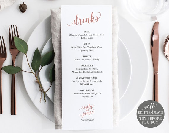 Bar Menu Template, Rose Gold Modern Script, Editable & Printable Instant Download, Demo Available