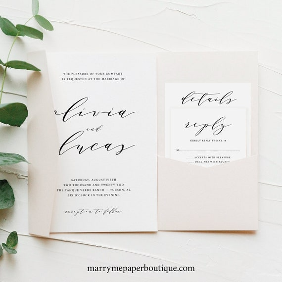 Wedding Invitation Template Set, Modern Elegant Script, Pocket Style, Editable & Printable Instant Download, Try Before Purchase