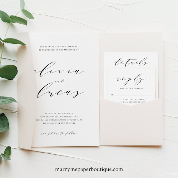 Wedding Invitation Template Set, Modern Elegant Script, Pocket Style, Editable & Printable Instant Download, Try Before Purchase