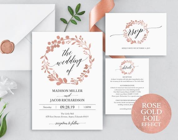 Rose Gold Wedding Invitation Set, Wedding Invitation Template Set, Printable Rose Gold Editable Invitation Set, PDF Instant Download, MM07-7