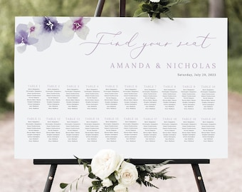Wedding Seating Plan Template, Lilac Flowers, Seating Chart Sign, Printable, Editable Poster, Purple Hydrangea, Templett INSTANT Download