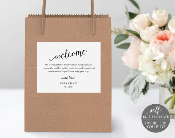 Welcome Bag Label Template, Modern Script, 100% Editable Instant Download, TRY BEFORE You BUY