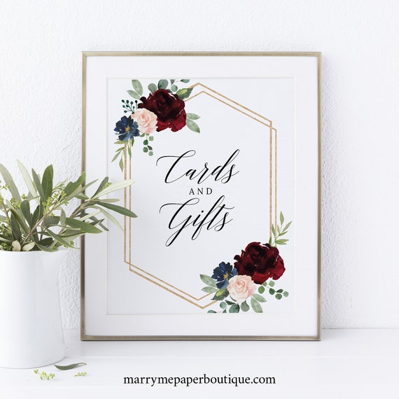 Cards & Gifts Sign Template, Non-Editable Instant Download, Burgundy Navy