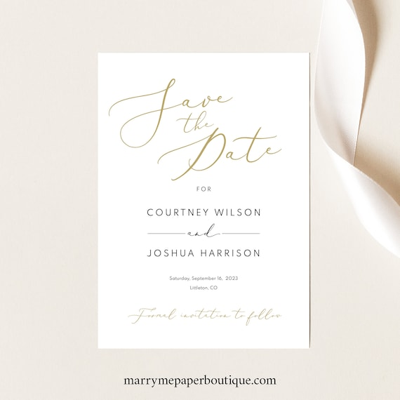 Save the Date Card Template, Elelegant Gold Script, Editable & Printable, Templett, Instant Download, Try Before Purchase