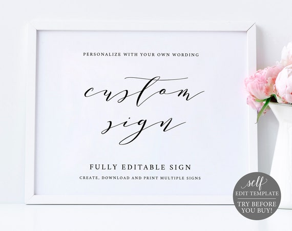 Create Multiple Wedding Signs Template, 100% Editable Instant Download, TRY BEFORE You BUY
