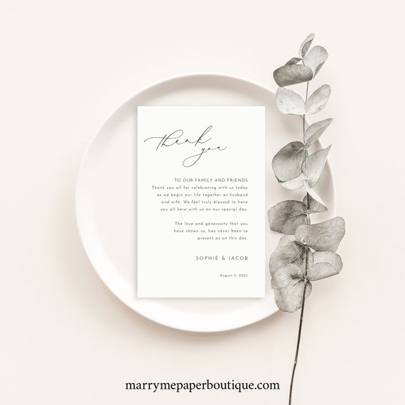 Thank You Letter Template, Luxury Calligraphy, Elegant Wedding Table Thank You Note, Printable, Editable, Templett INSTANT Download
