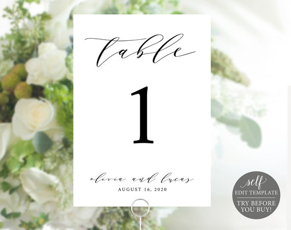 Wedding Table Number Template, TRY BEFORE You BUY, 100% Editable Template, Elegant Table Numbers Printable, Instant Download