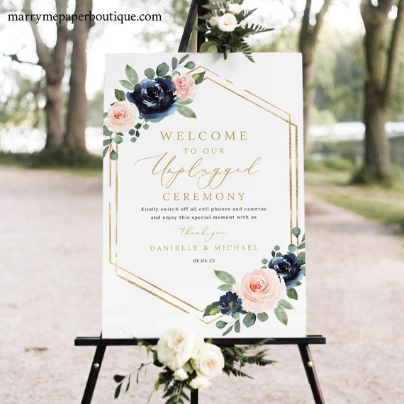 Unplugged Ceremony Sign Template, Navy & Blush Floral, Unplugged Wedding Sign, Printable, Editable, Templett INSTANT Download