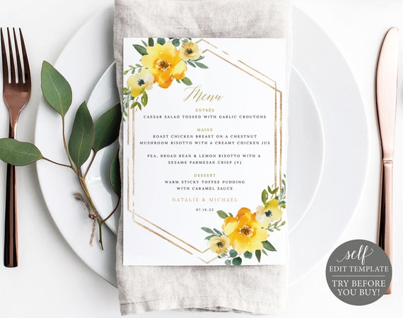 Menu Template, Yellow Floral 5x7, Demo Available, Editable & Printable Instant Download