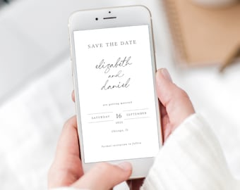 Save the Date Text Invite Template, Elegant Handwritten Style, Templett Instant Download, Editable Electronic Invitation