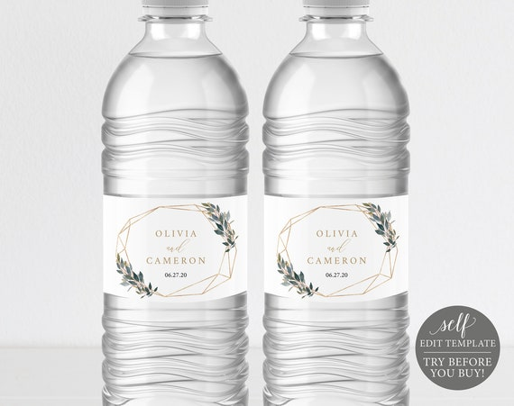 Water Bottle Label Template, TRY BEFORE You BUY, 100% Editable Instant Download, Greenery Geometric