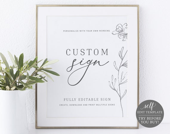 Create MULTIPLE Signs Template, TRY BEFORE You Buy, 100% Editable Instant Download, Botanical Floral