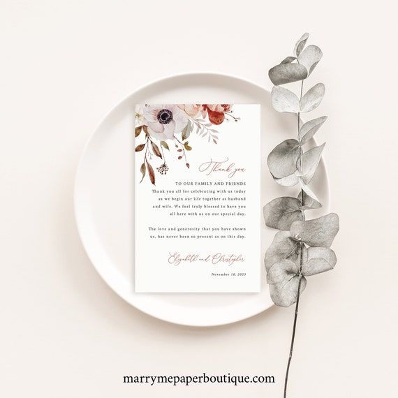 Thank You Letter Template, Fall Floral, Thank You Note, Printable, Editable, Fall Wedding Flowers, Templett INSTANT Download