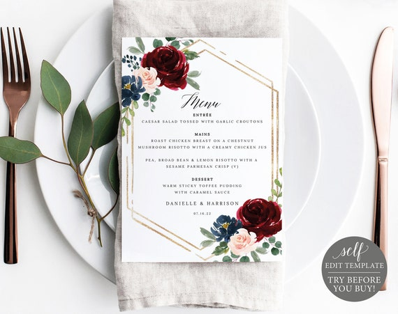 Wedding Menu Template, Burgundy Navy 5x7, Demo Available, Editable Printable Instant Download