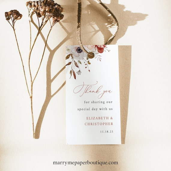 Wedding Favor Tag Template, Fall Floral, Fall Wedding Tag, Printable, Editable, Rectangular, Templett INSTANT Download