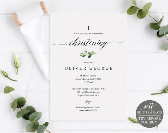 Christening Invitation Template, TRY BEFORE You Buy, Printable Baptism Invite, 100% Editable Template, Greenery Leaf Motif, Instant Download